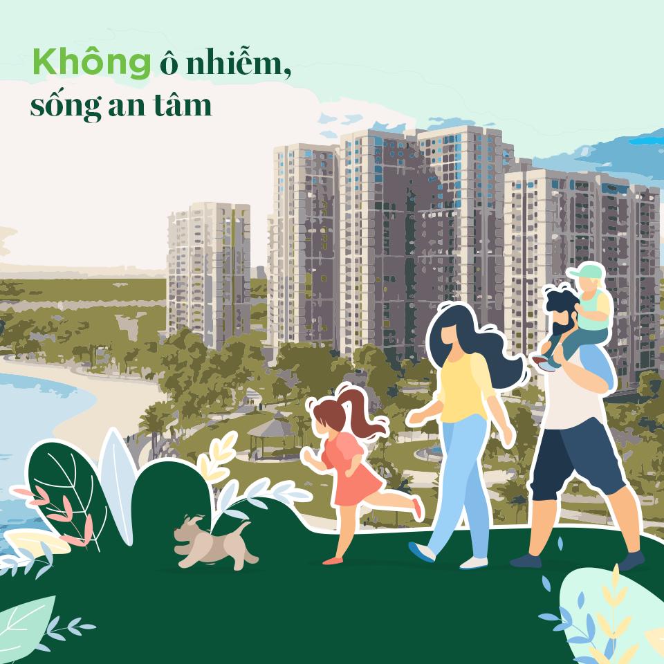 Loại bỏ ô nhiễm, bạn an tâm sống giữa miền xanh bất tận của Đại công viên 36ha, gồm 15 công viên chủ đề.