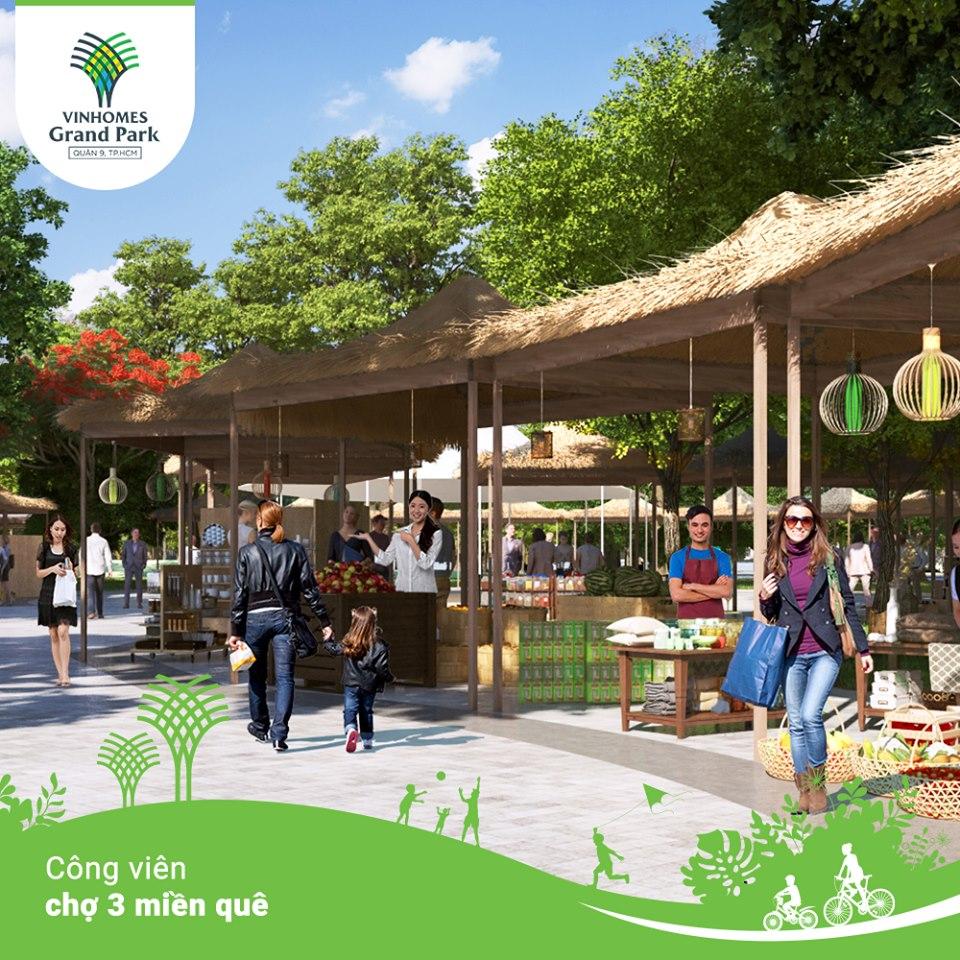 Công viên chợ 3 miền quê nơi tổ chức các hội chợ độc đáo mang đậm bản sắc dân tộc.