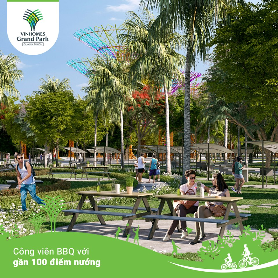 Công viên BBQ với gần 100 điểm nướng, điểm hẹn lý tưởng của cư dân dành cho gia đình, bạn bè trong những dịp cuối tuần