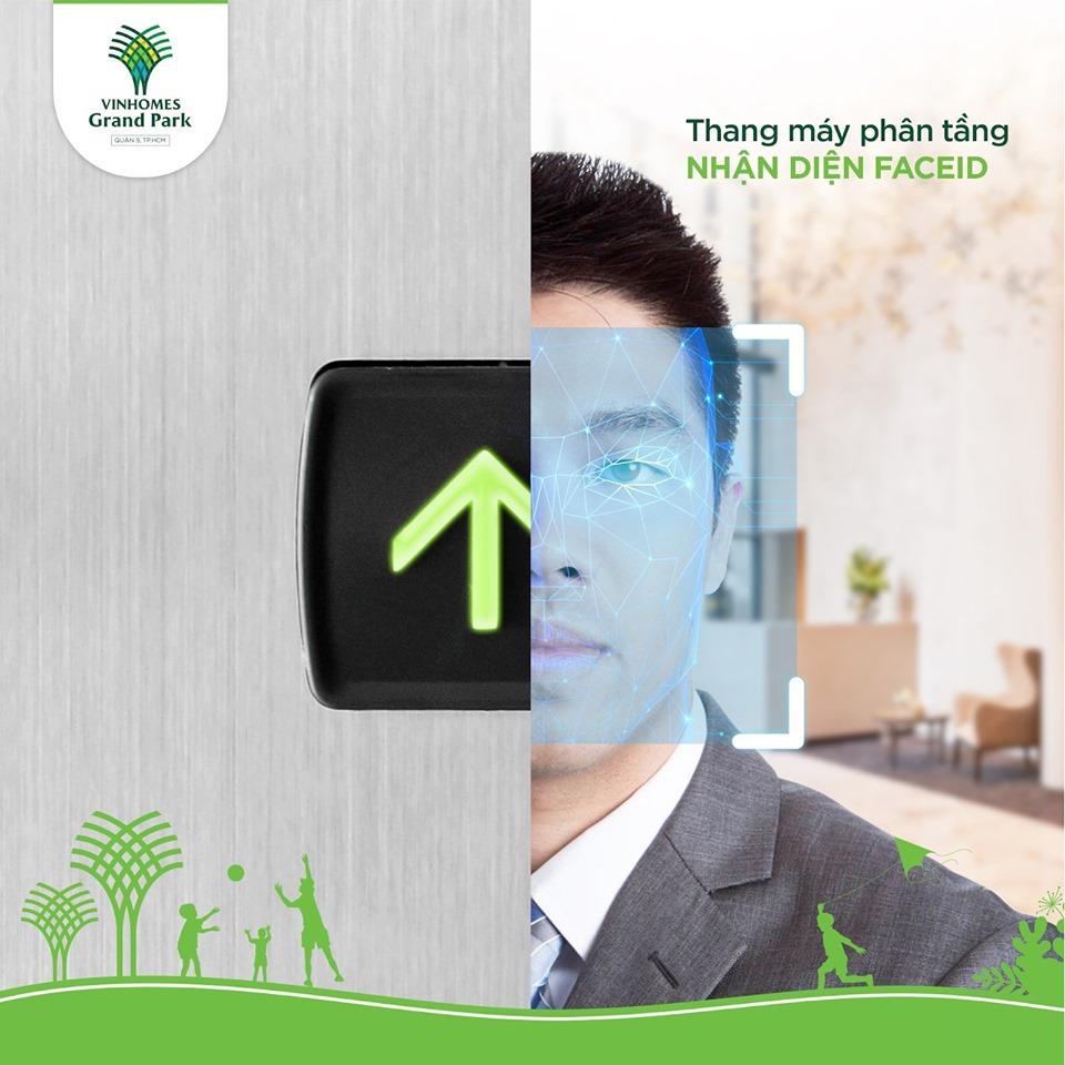 Hệ thống kiểm soát phân tầng thang máy với tính năng nhận diện khuôn mặt (Face ID) giúp mang lại an ninh, an toàn mức cao cho khu căn hộ