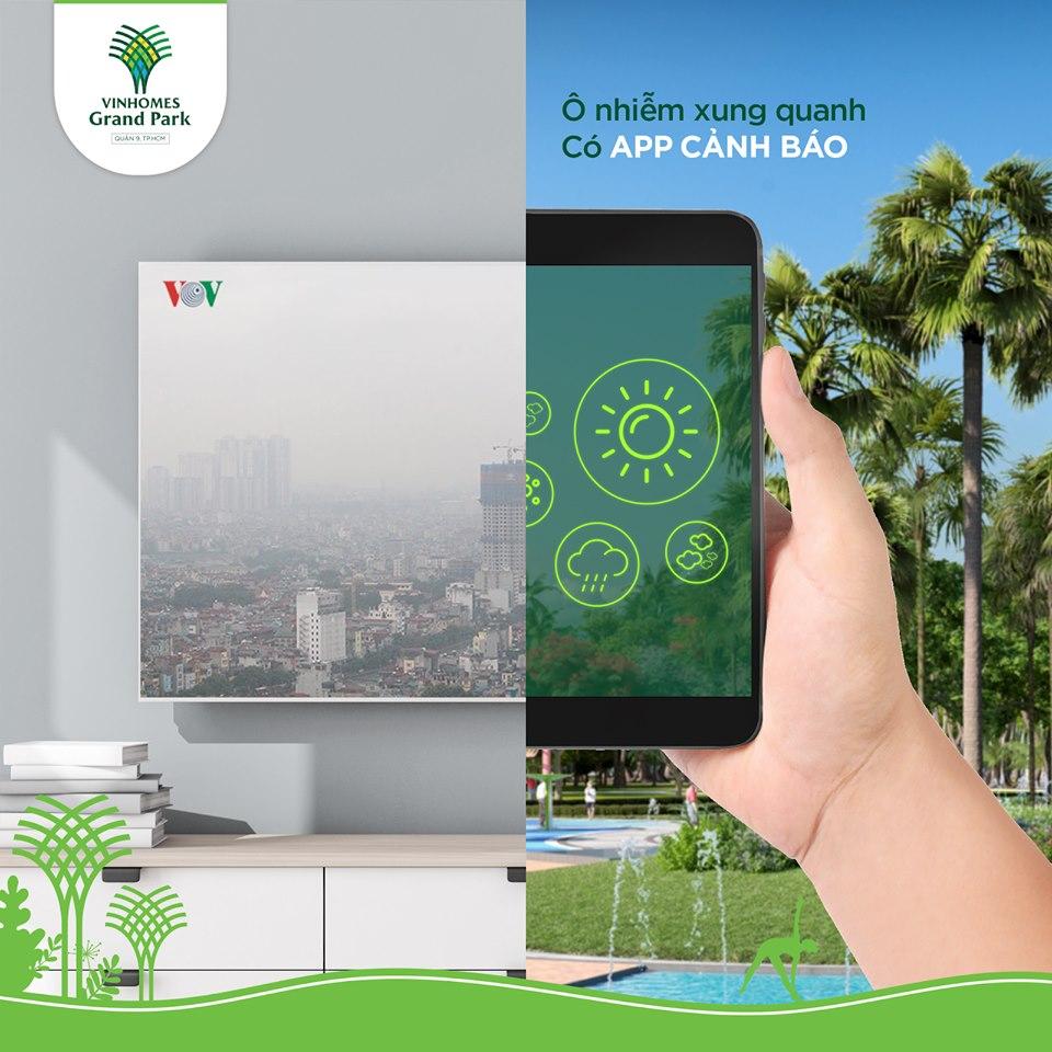Hệ thống cảnh báo ô nhiễm môi trường qua ứng dụng (App) cư dân cung cấp thông tin độ ẩm, nhiệt độ, chất lượng không khí, cảnh báo ô nhiễm, đưa ra lời khuyên cho cư dân, giúp chủ động bảo vệ sức khỏe bản thân và gia đình