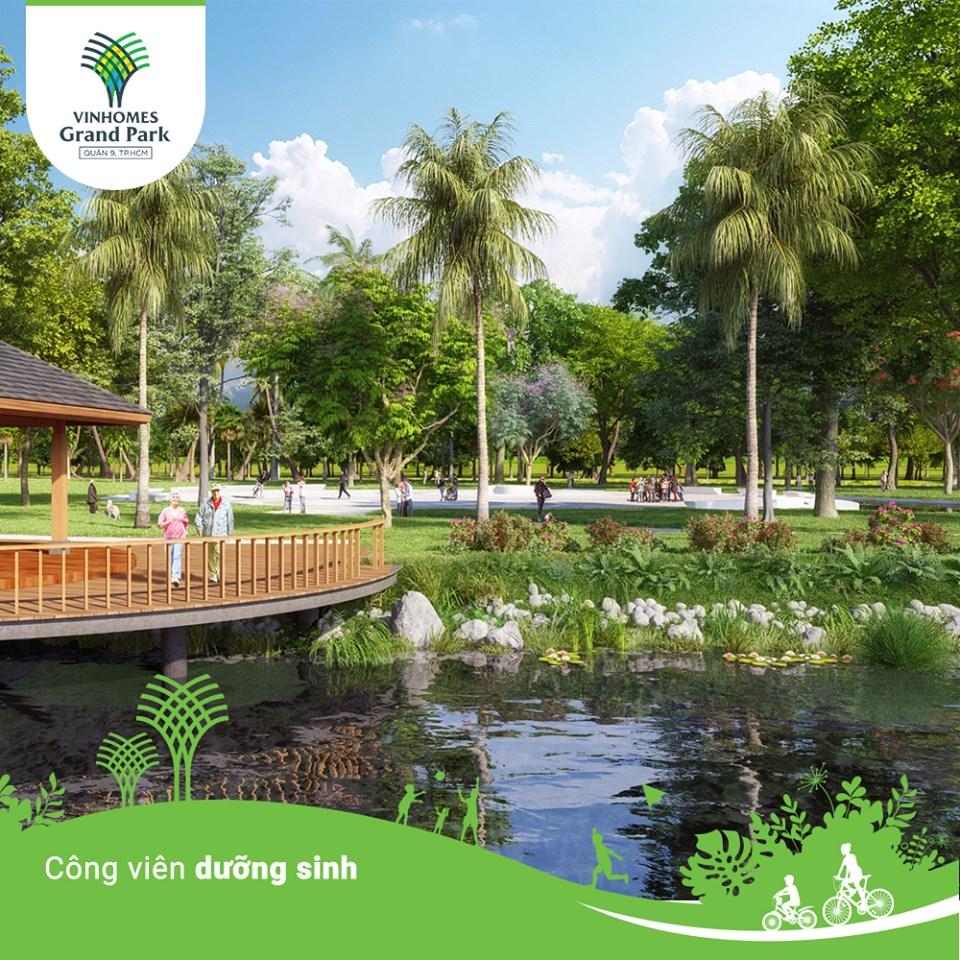 Công viên dưỡng sinh với không gian thiên nhiên xanh mát cùng vườn cờ độc đáo, nơi thư giãn, giao lưu tuyệt vời cho ông bà, cha mẹ.