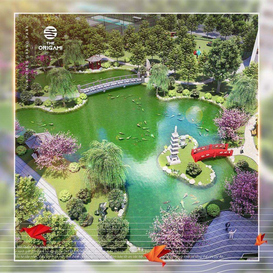 Sở hữu cảnh quan tuyệt mỹ của bộ đôi vườn Nhật nội khu, Rạch Bà Dì xanh mát bao quanh đem đến không khí trong lành.